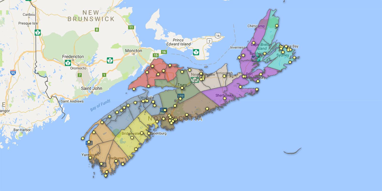 Public Libraries Map Nova Scotia Provincial Library - Nova scotia map
