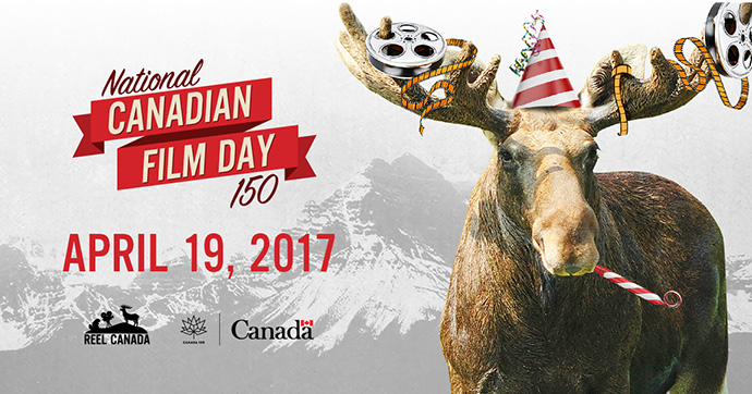 Moose with party hat and film on its antlers celebrating National Canadian Film Day